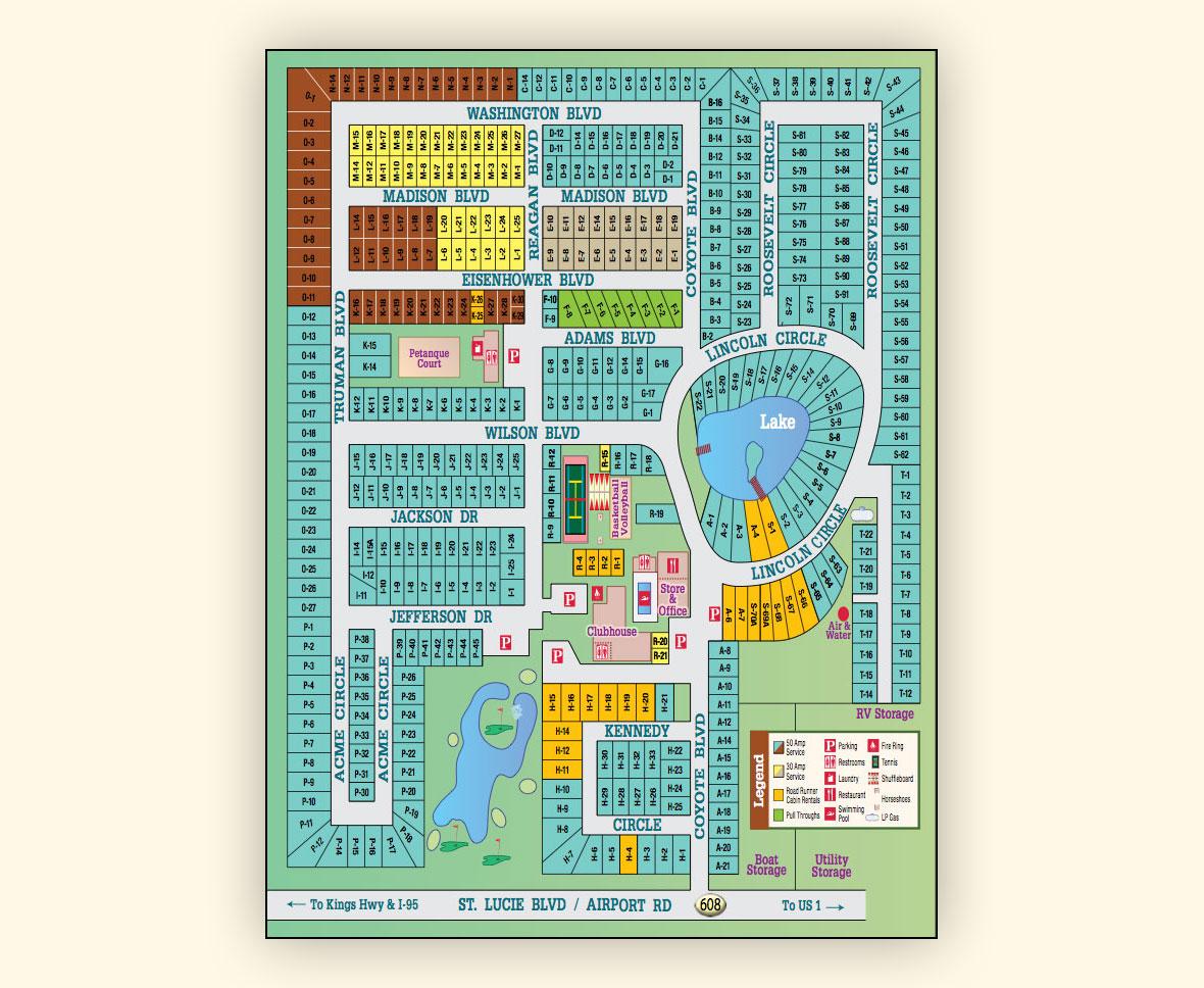 Park Map Road Runner Travel Resort Fort Pierce Florida
